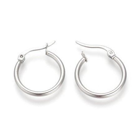 2 stuks Stainless Steel Earrings Silver 20mm