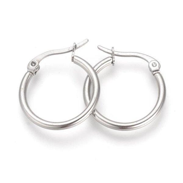 Stainless Steel Hoop Earrings Silver 20mm, 2 pieces