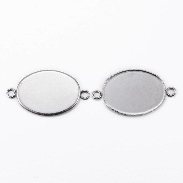 Stainless Steel Tussenzetsel Zilver 25x14mm voor 18x13mm Cabochon, 3 stuks