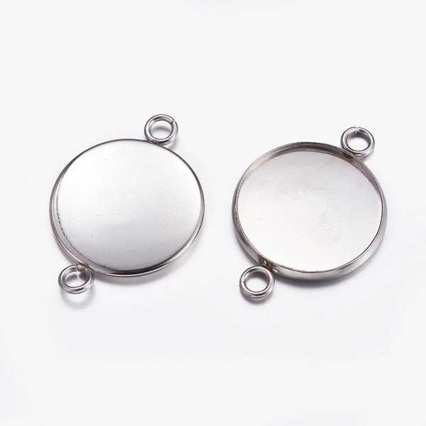 Stainless Steel Connector Silver 32x22mm  fits 20mm Cabochon, 3 pieces