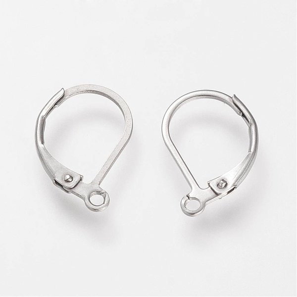 Stainless Steel Earring Hooks Silver 16x10mm, 6 pieces