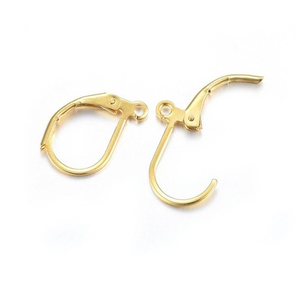 Stainless Steel Earring Hooks Gold 16x10mm, 4 pieces