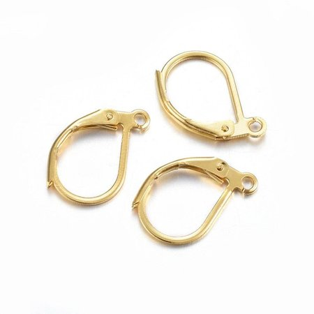 4 pieces Stainless Steel Earring Hooks Gold 16x10mm