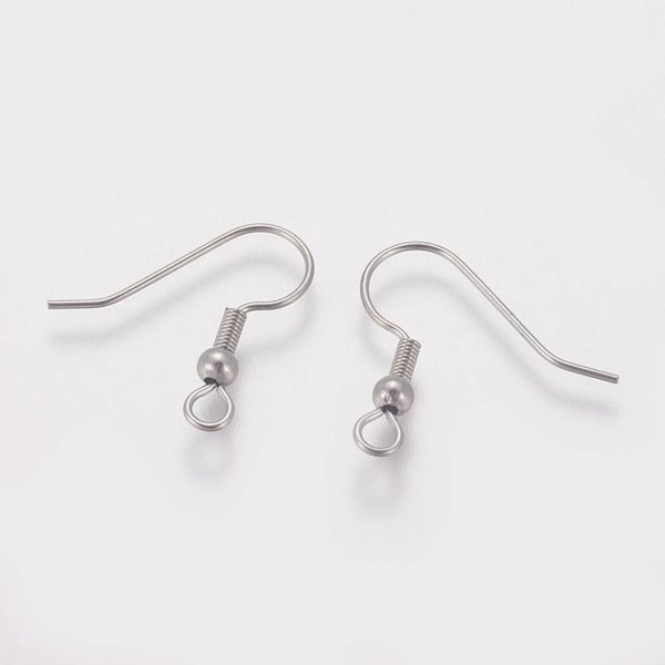 Stainless Steel Earring Hooks Silver 20x21mm, 10 pieces
