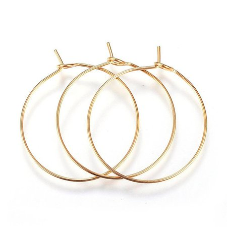 4 pieces Stainless Steel Hoop Earring Gold  30x25x0.8mm