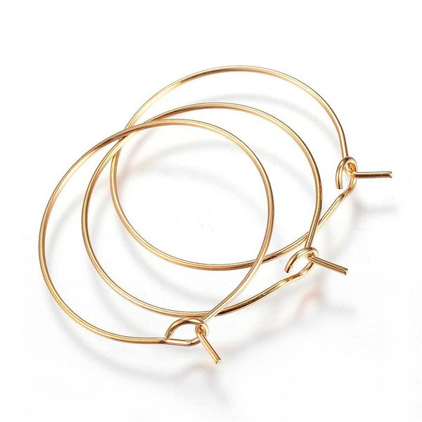 Stainless Steel Hoop Earring Gold  30x25x0.8mm, 4 pieces