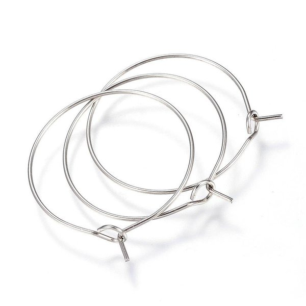 Stainless Steel Hoop Earring Silver  30x25x0.8mm, 4 pieces