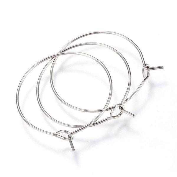 Stainless Steel Hoop Oorbel Zilver 30x25x0.8mm, 4 stuks
