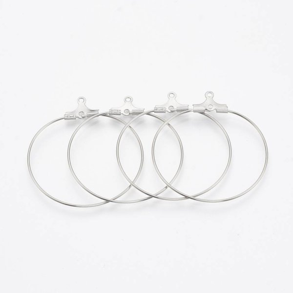 Stainless Steel Hoop Earring Silver 44x40x0.8mm, 4 pieces
