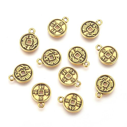 6 pcs Gold Charm Chinese Lucky Coin 12mm