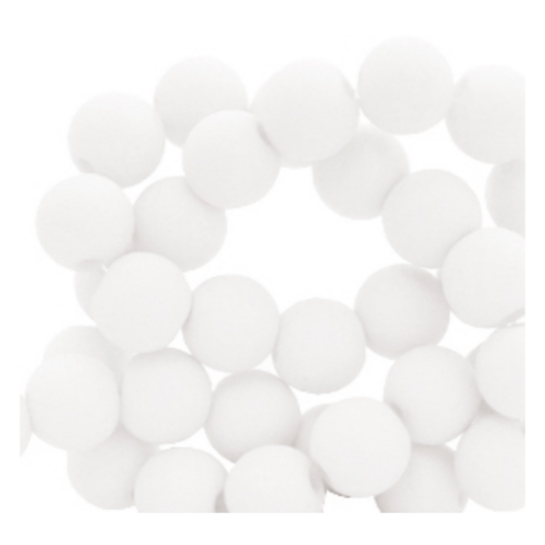 200 pieces Matte White Acrylic Beads 4mm