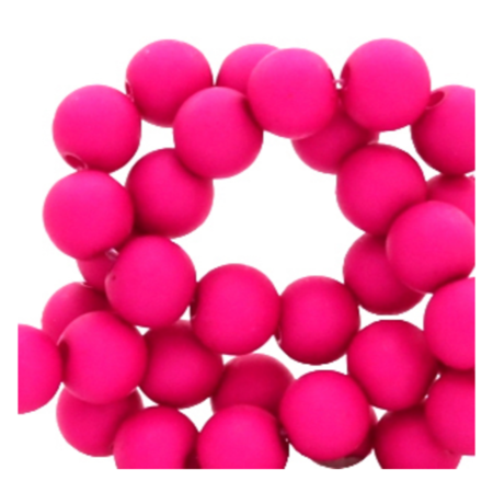 200 pieces Matte Fuchsia Pink Acrylic Beads 4mm