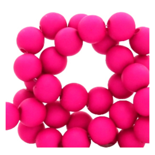200 pieces Matte Fuchsia Pink Acrylic Beads 4mm