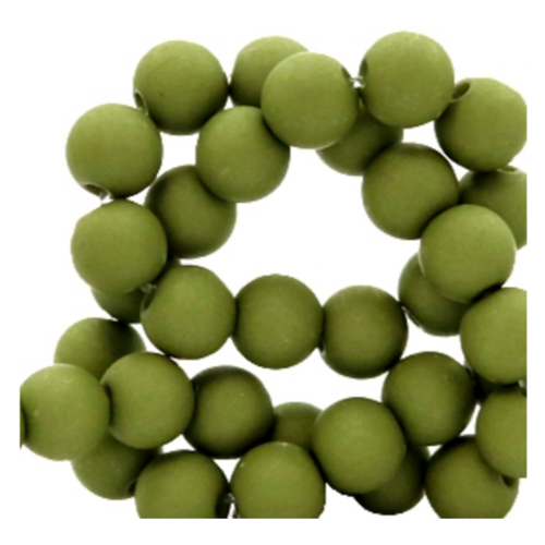 200 pieces Matte Green Acrylic Beads 4mm