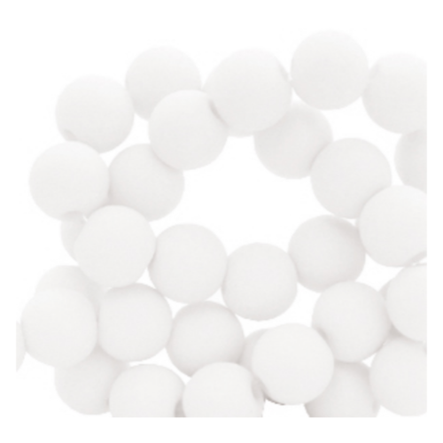 100 pieces Matte White Acrylic Beads 6mm