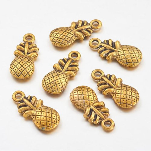 4 pcs Pineapple Gold 19x9mm
