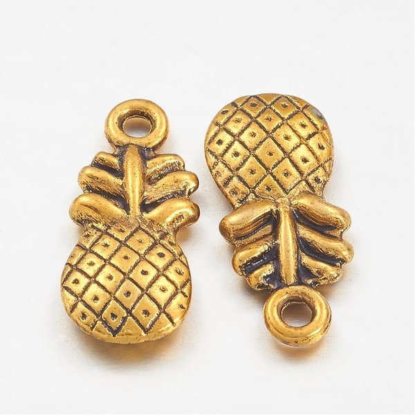 Pineapple Charm 19x9mm Gold, 4 pieces