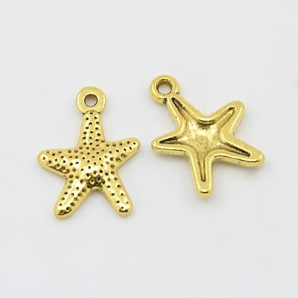 6 pcs Starfish Charm Gold 16x12mm