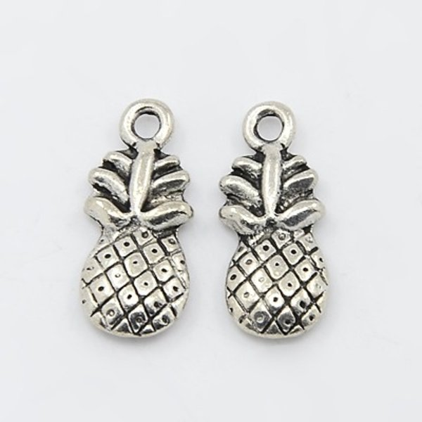Pineapple Silver Charm 19x9mm, 4 pieces