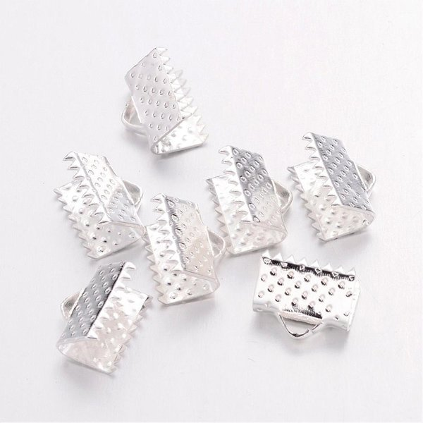 Fold Over Cord Ends Silver 10x7mm, 20 pieces