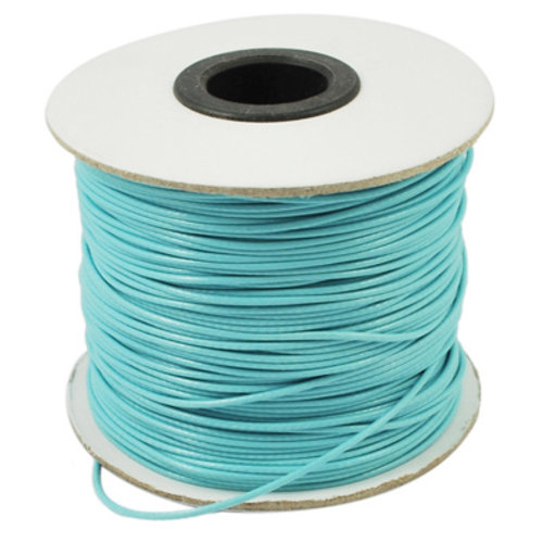 Waxed Cord Turquoise 1mm, 3 meter