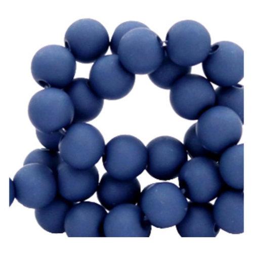 100 pieces Matte Dark Blue Acrylic Beads 6mm