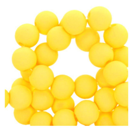 100 pieces Matte Yellow Acrylic Beads 6mm