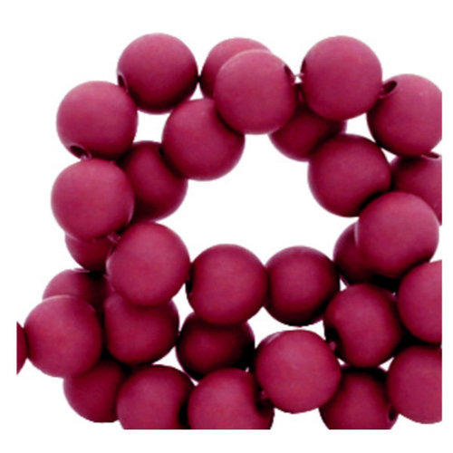 100 pieces Matte Wine Red Acrylic Beads 6mm