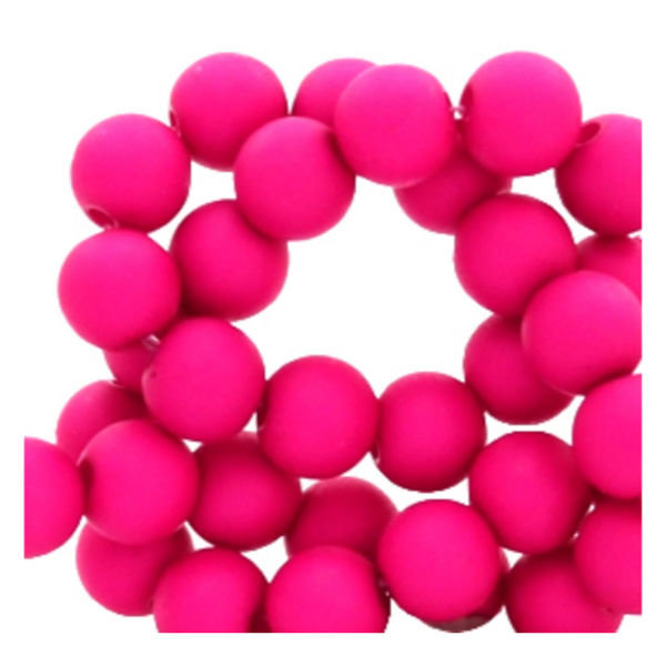 100 pieces Matte Fuchsia Pink Acrylic Beads 6mm