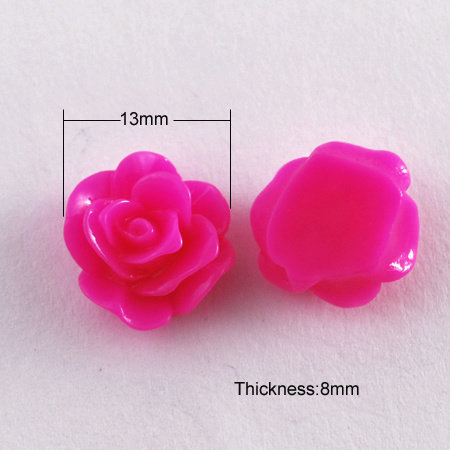 8 pieces Rose Cabochon Fuchsia Pink 13mm