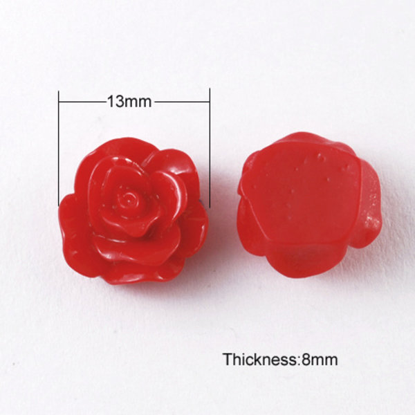 Rose Cabochon Red 13x8mm, 8 pieces
