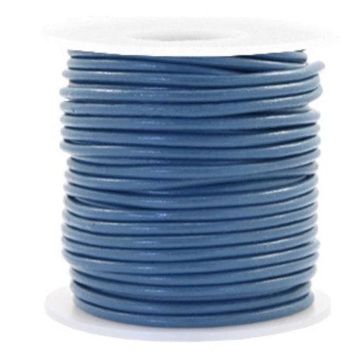 1 meter DQ Leer 3mm Donker Blauw