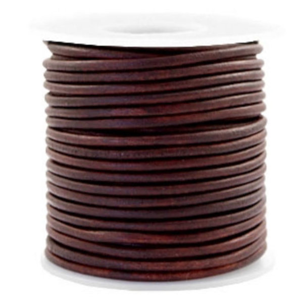 DQ Leather 3mm Mahogany Brown, 1 meter
