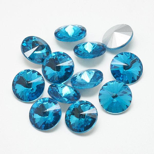 Rivoli Puntsteen 12mm Aqua Blauw