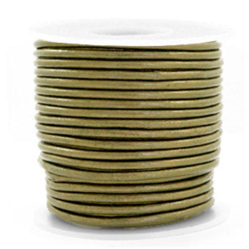 1 meter DQ Leer 3mm Olijf Groen Metallic