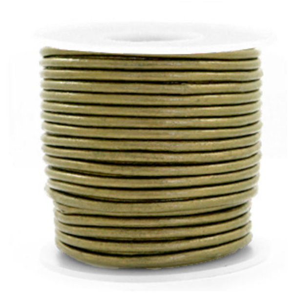 DQ Leather 3mm Olive Green Metallic, 1 meter
