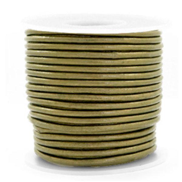 DQ Leer 3mm Olijf Groen Metallic, 1 meter