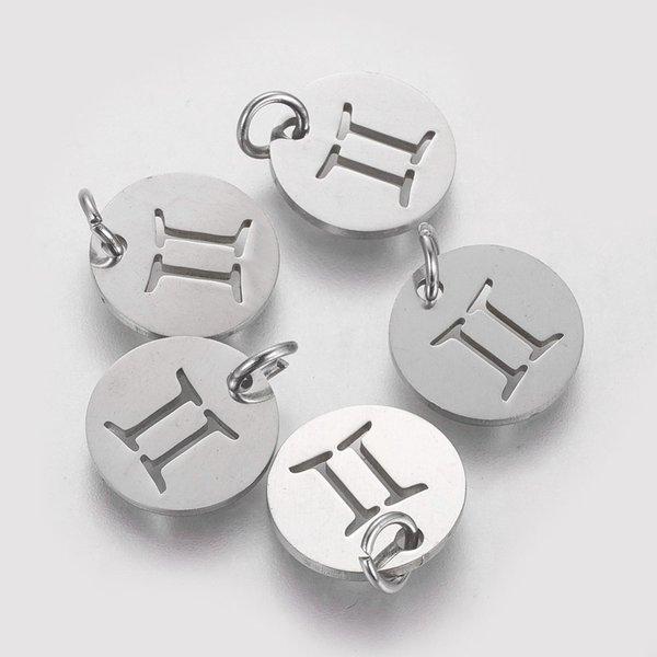 Stainless Steel Zodiac Charm Gemini Silver 12mm