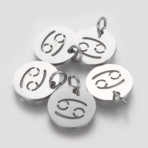 Stainless Steel Cancer Charm Silver 12mm