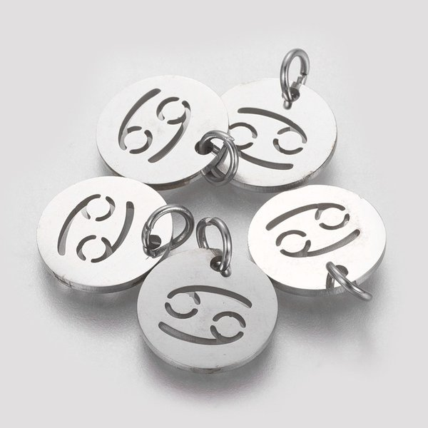 Stainless Steel Zodiac Charm Cancer Silver 12mm