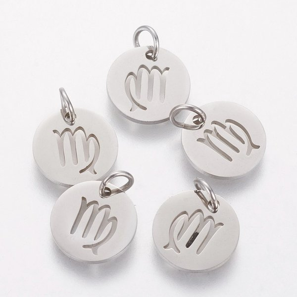 Stainless Steel Zodiac Charm Virgo Silver 12mm