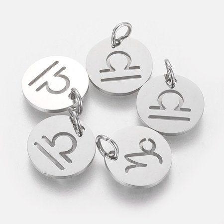 Stainless Steel Libra Charm Silver 12mm