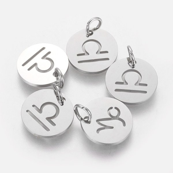Stainless Steel Zodiac Charm Libra Silver 12mm