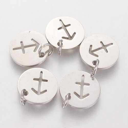 Stainless Steel Sagittarius Charm Silver 12mm