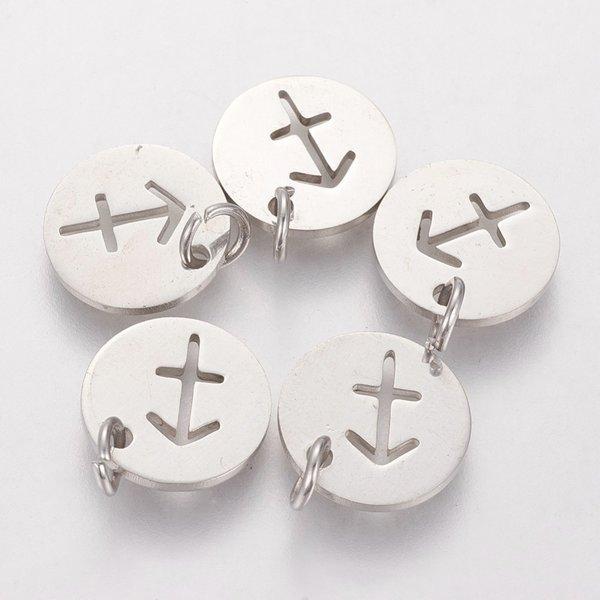 Stainless Steel Zodiac Charm Sagittarius Silver 12mm