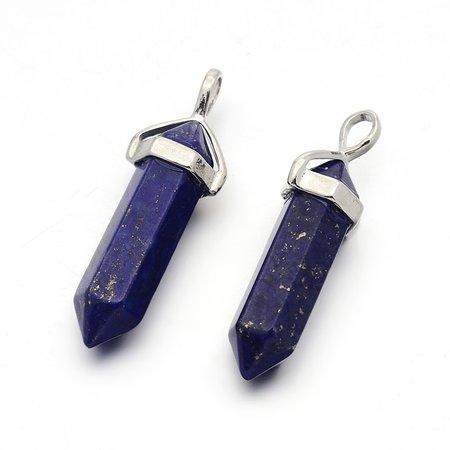 Natural Lapis Lazuli Bullet Bedel 40x10mm