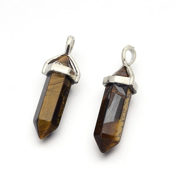 Natural Tiger Eye Bullet Gemstone Pendant 40x10mm