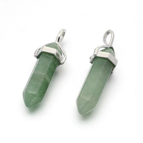Natural Green Aventurine Bullet Pendant 40x10mm