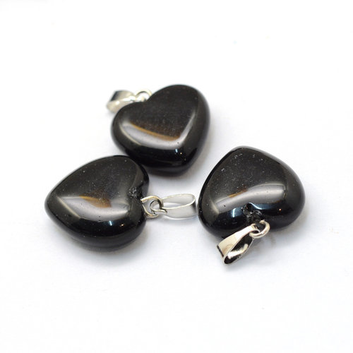 Natural Black Stone Gemstone Charm Heart 17x15mm