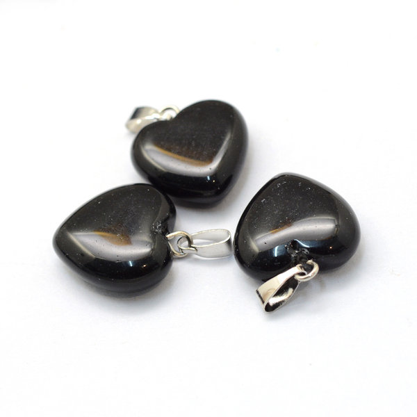 Natural Black Stone Edelsteen Bedel Hart 17x15mm